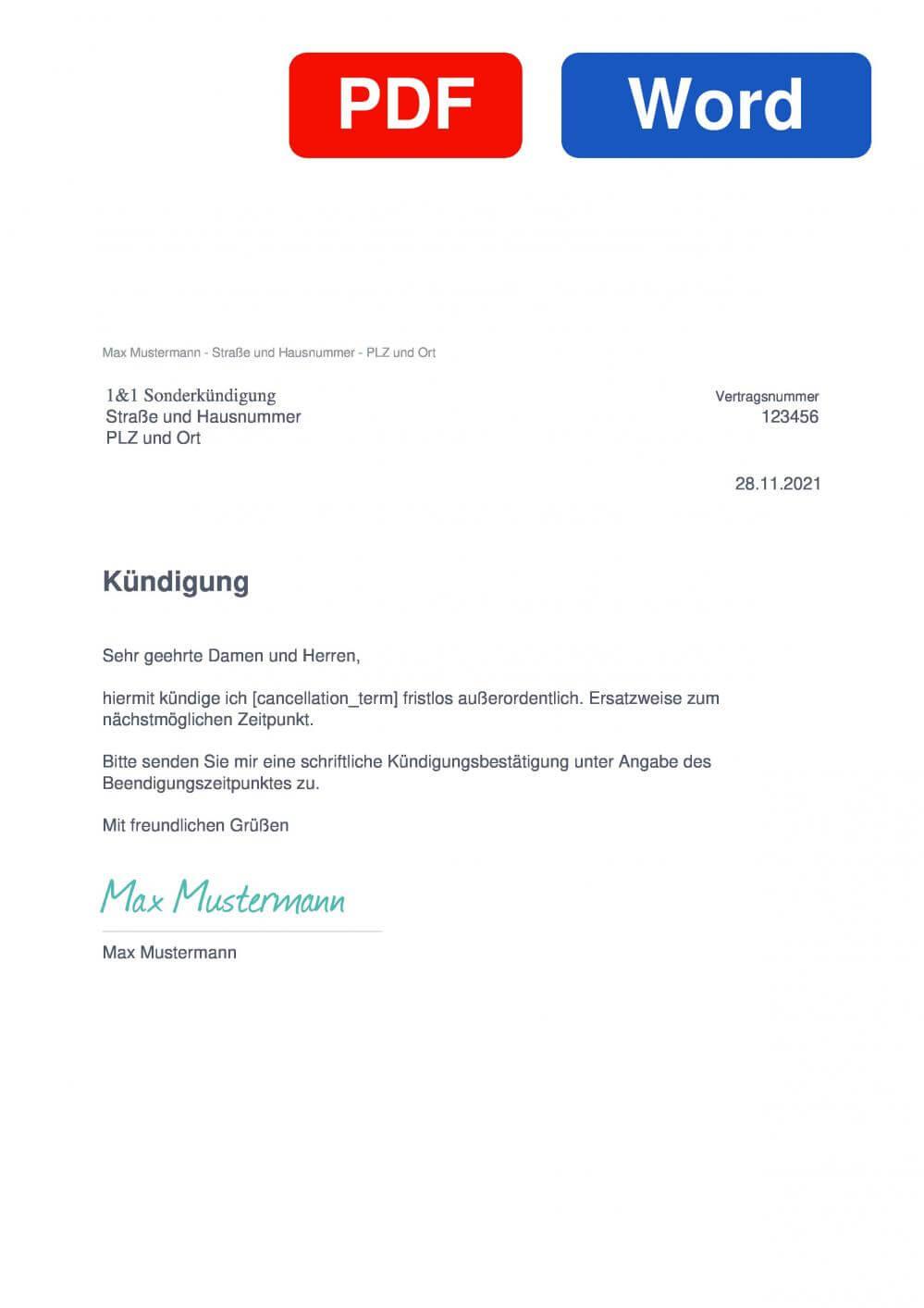 1&1 Sonderkündigung Muster Vorlage für Kündigungsschreiben