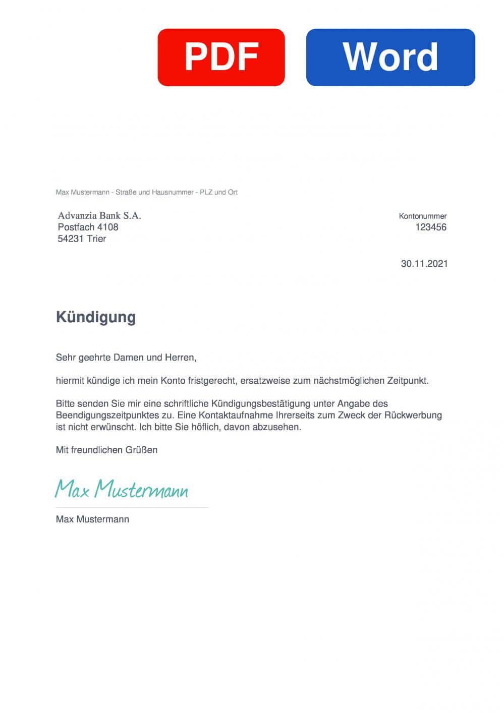 Advanzia Bank Muster Vorlage für Kündigungsschreiben