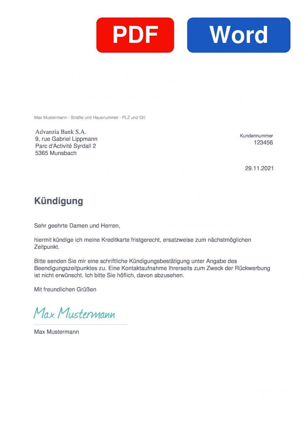 Advanzia Muster Vorlage für Kündigungsschreiben