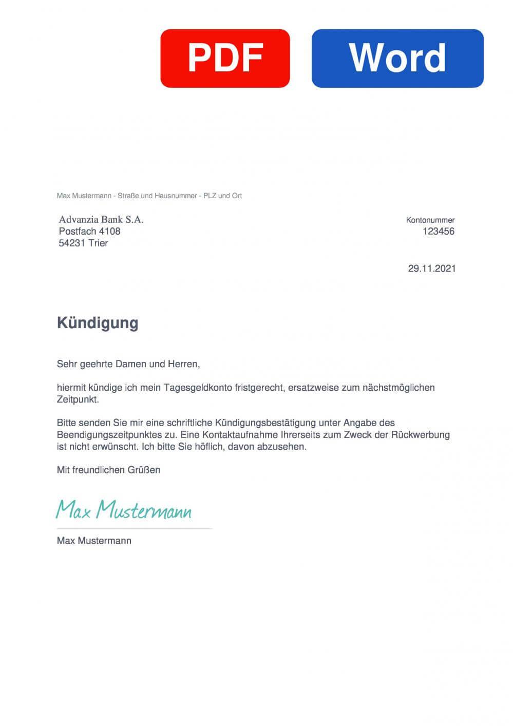 Advanzia Tagesgeldkonto Muster Vorlage für Kündigungsschreiben