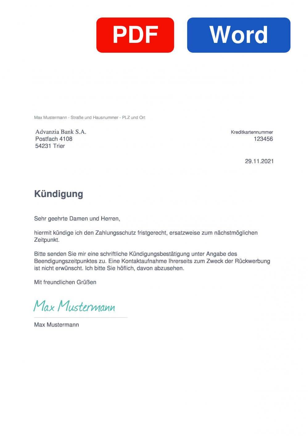 Advanzia Zahlungsschutz Muster Vorlage für Kündigungsschreiben