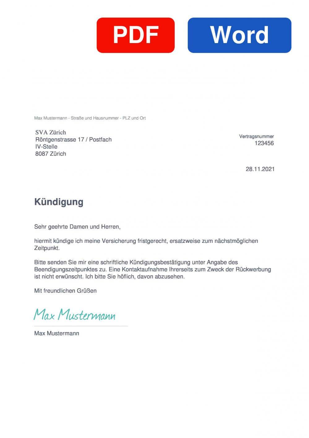 AHV/IV Muster Vorlage für Kündigungsschreiben