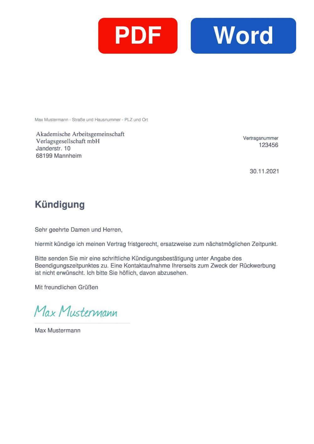 Akademische Arbeitsgemeinschaft Muster Vorlage für Kündigungsschreiben