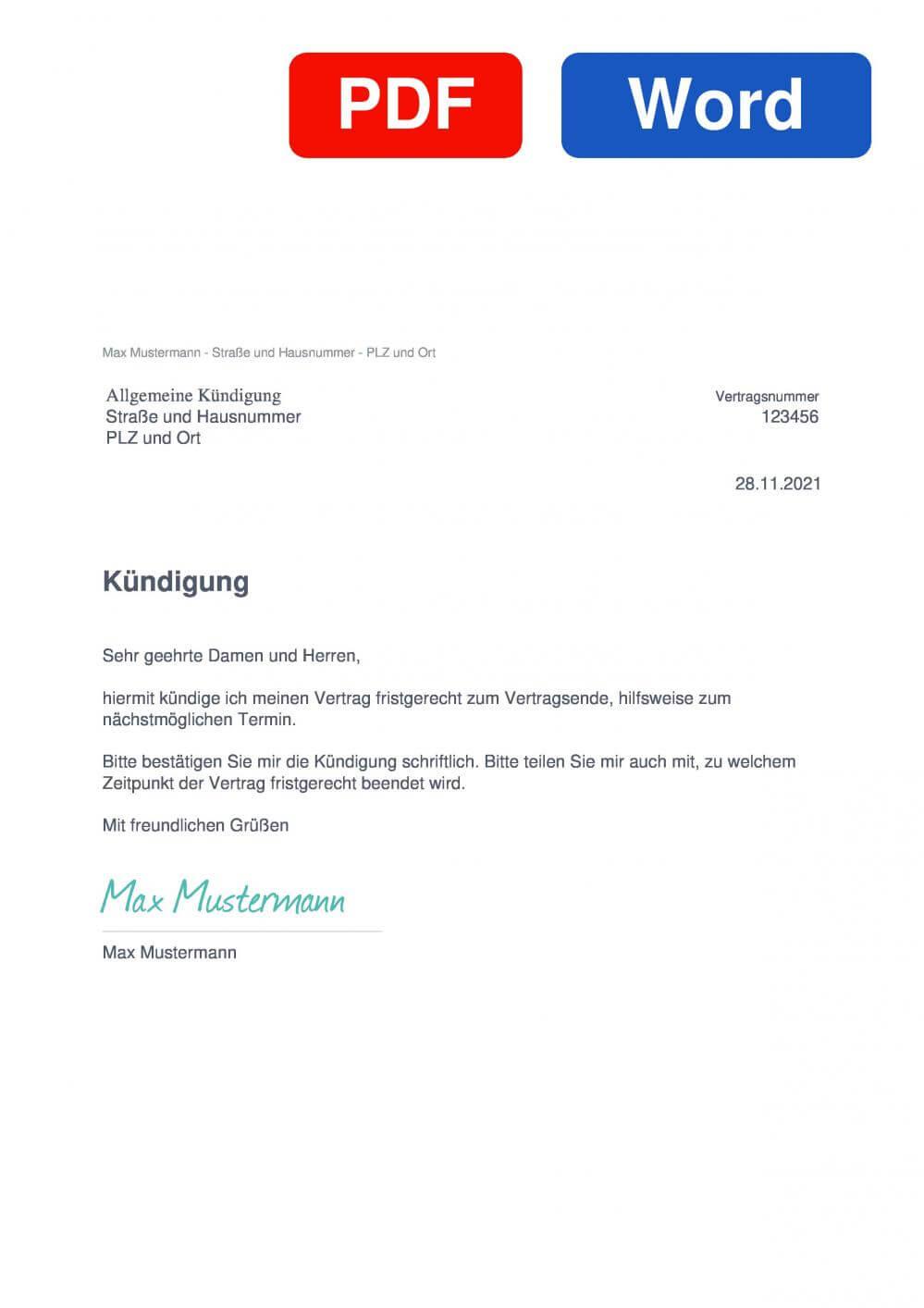 Kündigung Vorlage Muster Vorlage für Kündigungsschreiben