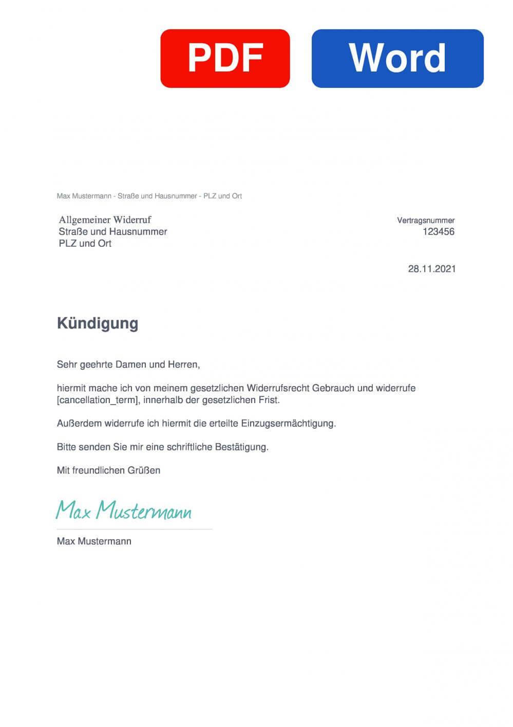 Widerruf Vorlage Muster Vorlage für Wiederrufsschreiben