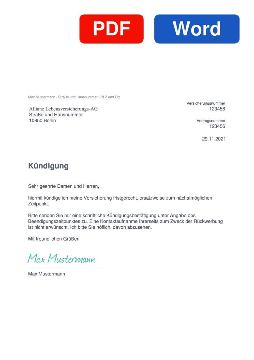 Allianz Altersvorsorge Muster Vorlage für Kündigungsschreiben