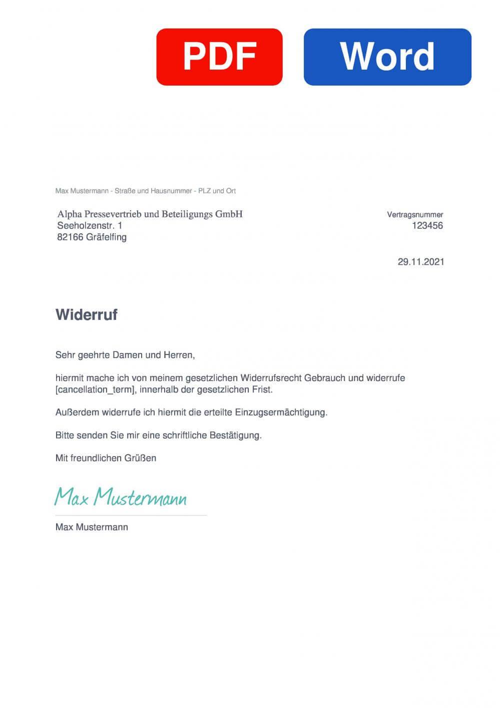 Alpha Pressevertrieb und Beteiligungs GmbH Muster Vorlage für Wiederrufsschreiben