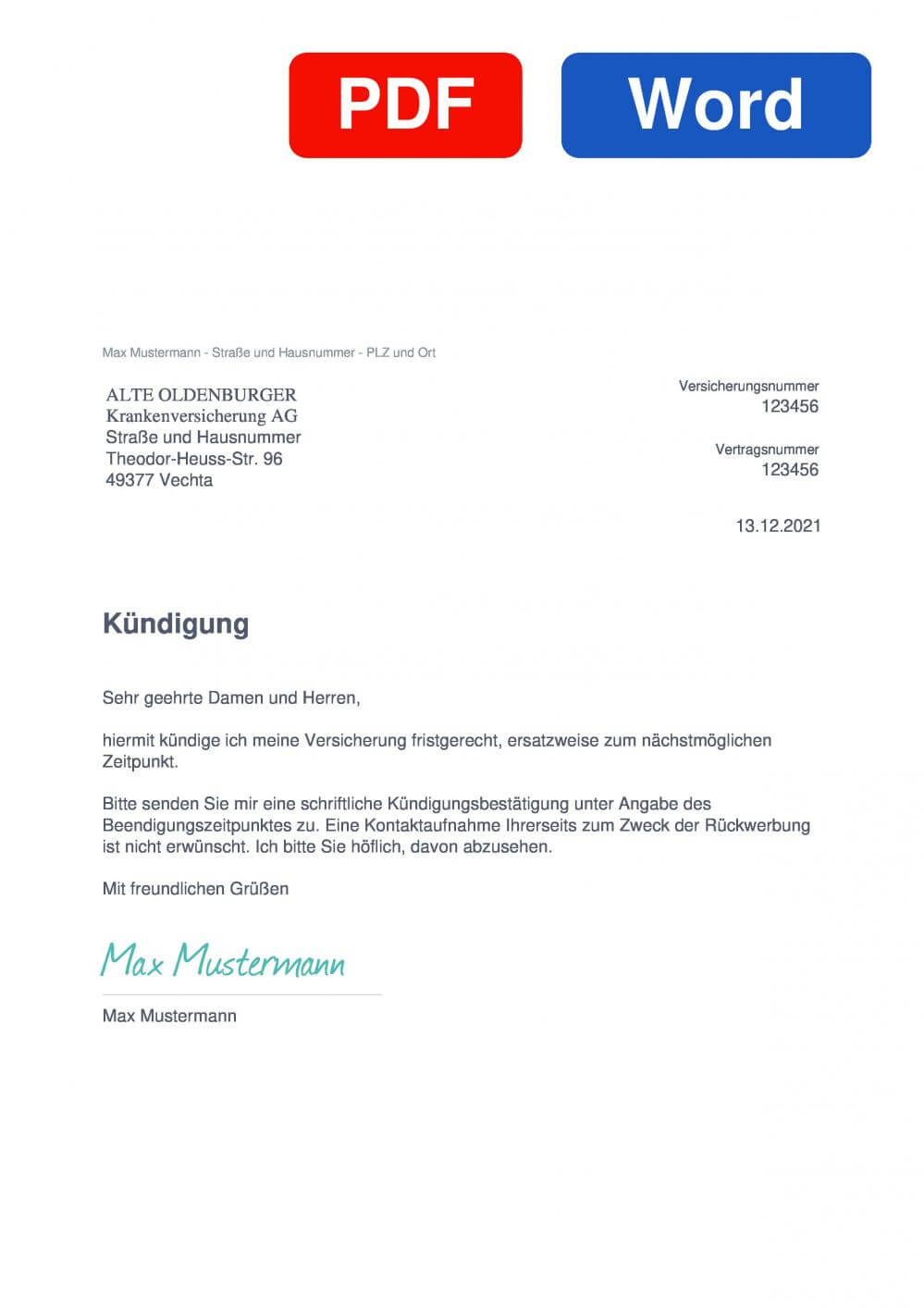 ALTE OLDENBURGER Muster Vorlage für Kündigungsschreiben