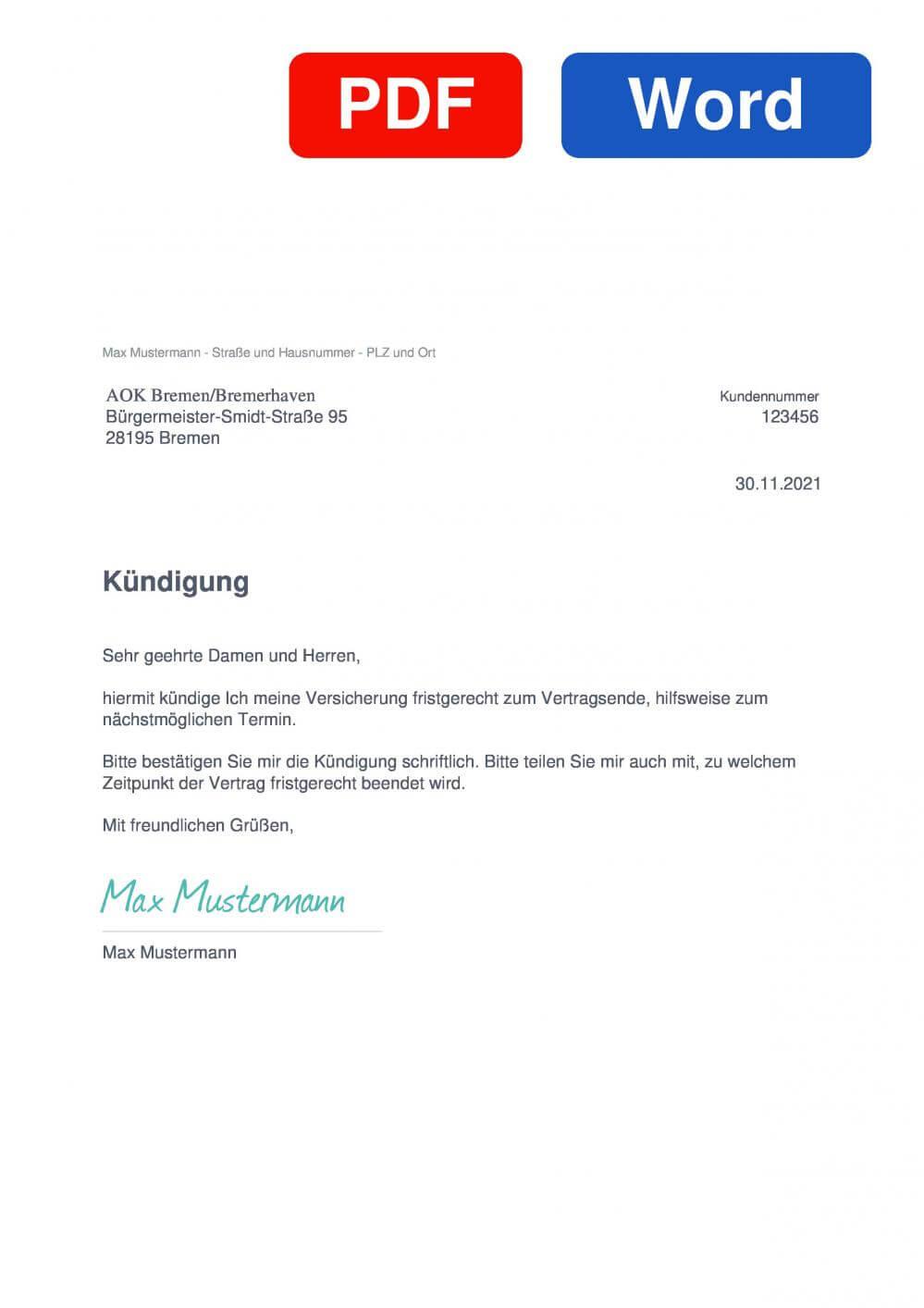 AOK Bremen/Bremerhaven Muster Vorlage für Kündigungsschreiben