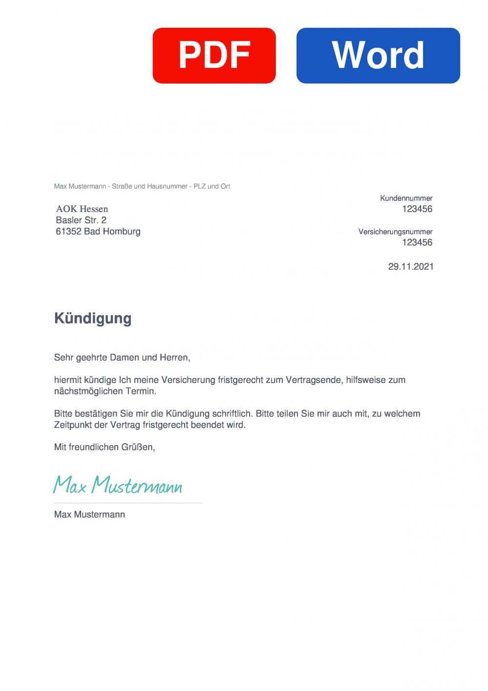 AOK Hessen Muster Vorlage für Kündigungsschreiben