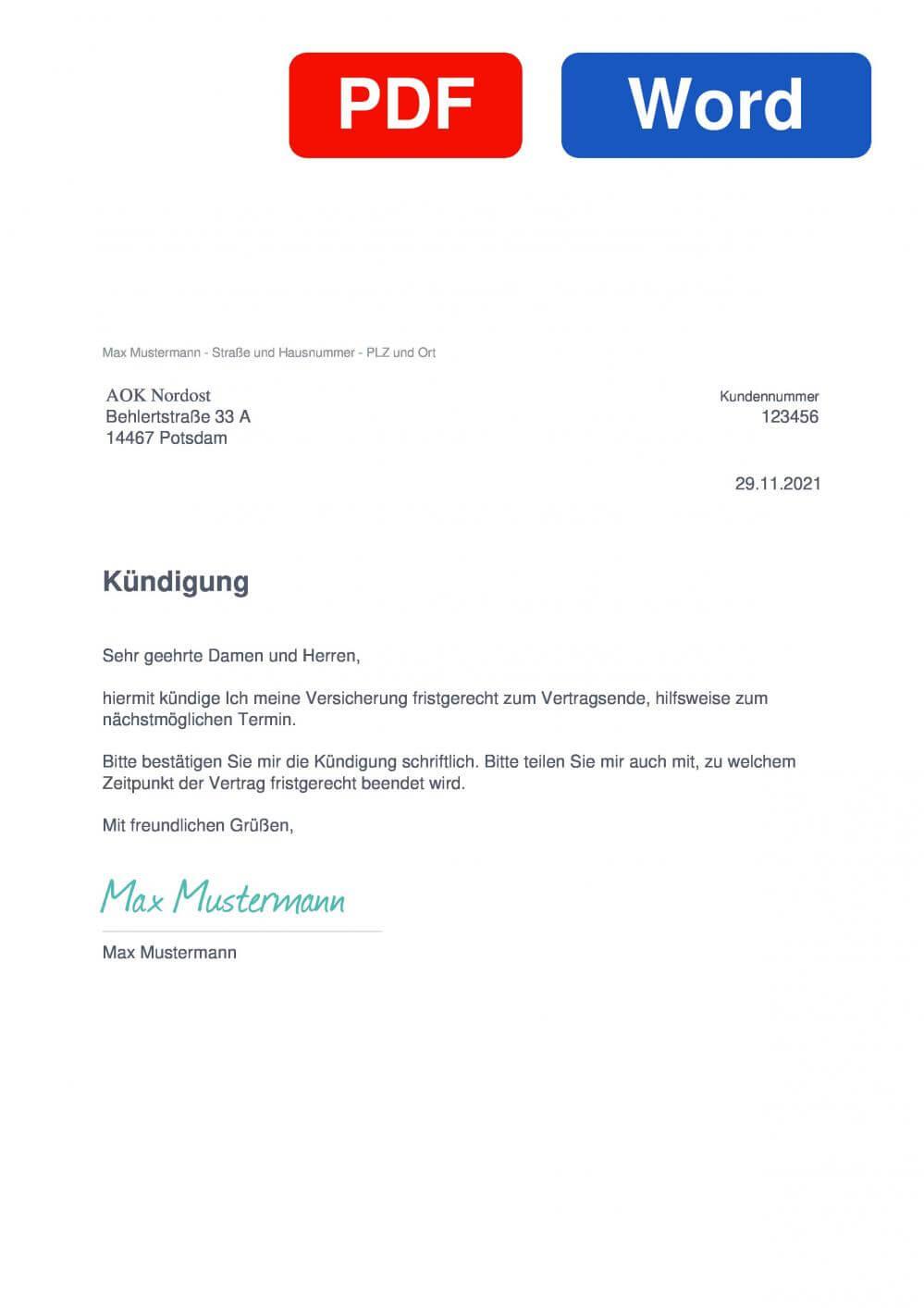AOK Nordost Muster Vorlage für Kündigungsschreiben