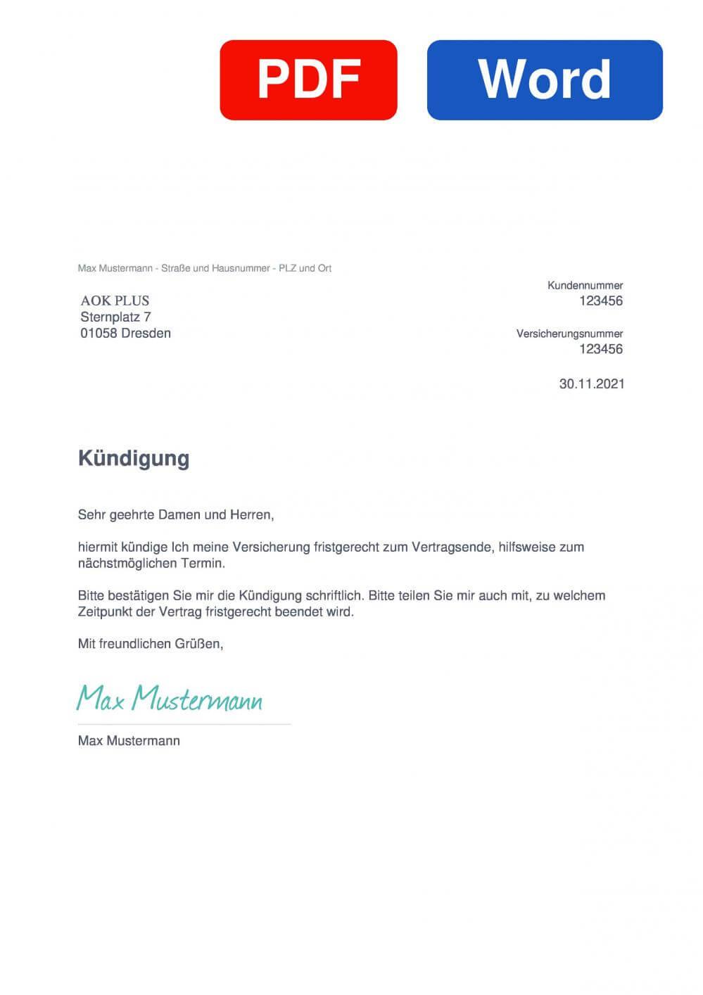 AOK PLUS Muster Vorlage für Kündigungsschreiben
