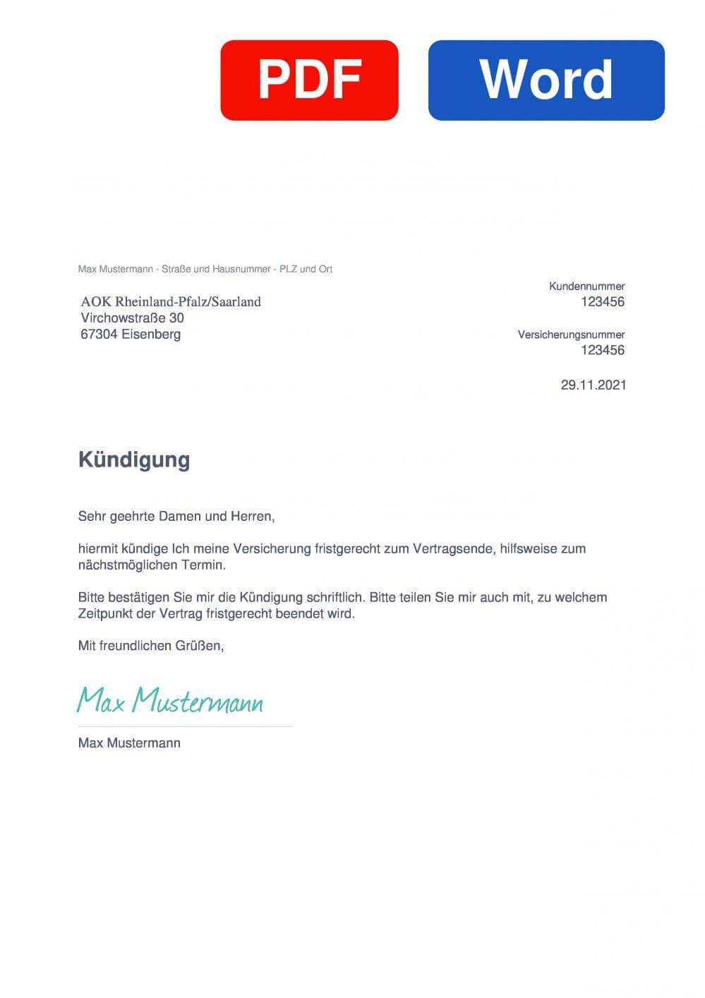 AOK Rheinland-Pfalz/Saarland Muster Vorlage für Kündigungsschreiben