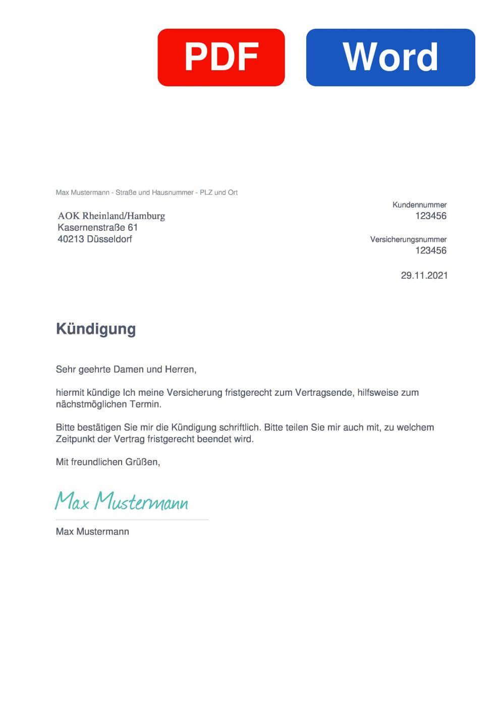 AOK Rheinland/Hamburg Muster Vorlage für Kündigungsschreiben