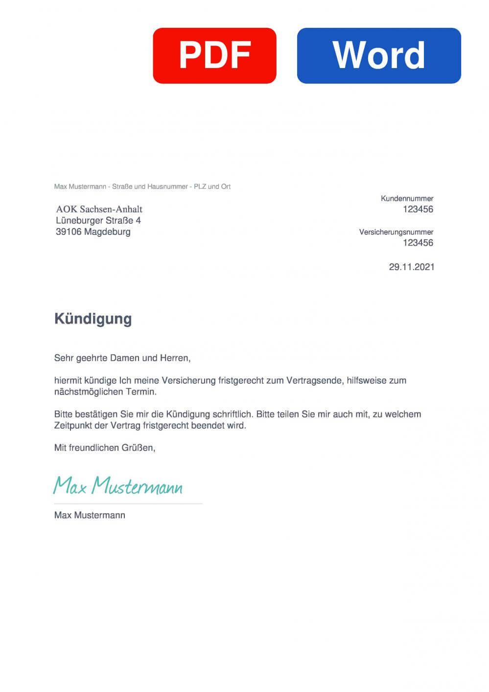 AOK Sachsen-Anhalt Muster Vorlage für Kündigungsschreiben