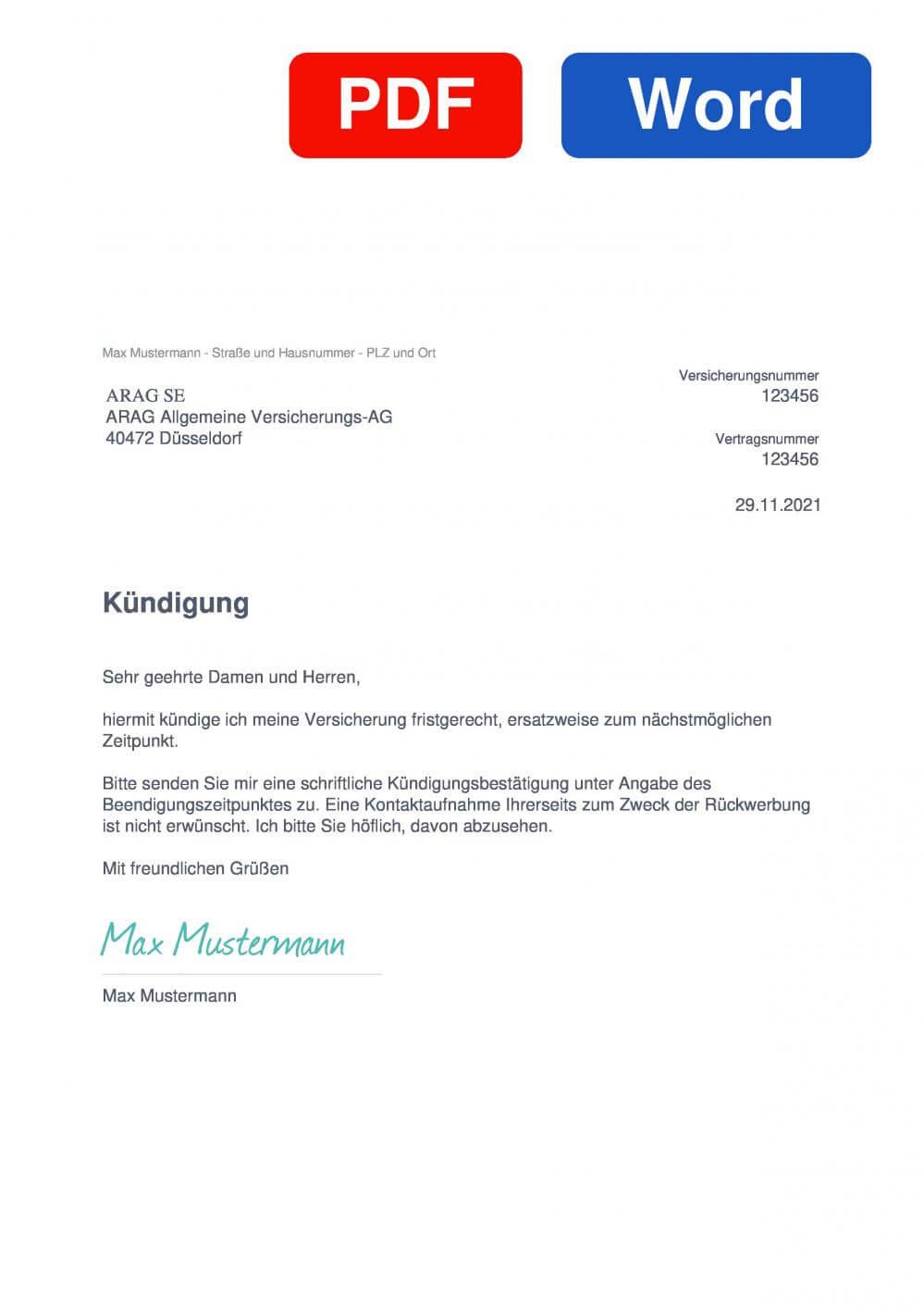 ARAG Unfallversicherung Muster Vorlage für Kündigungsschreiben