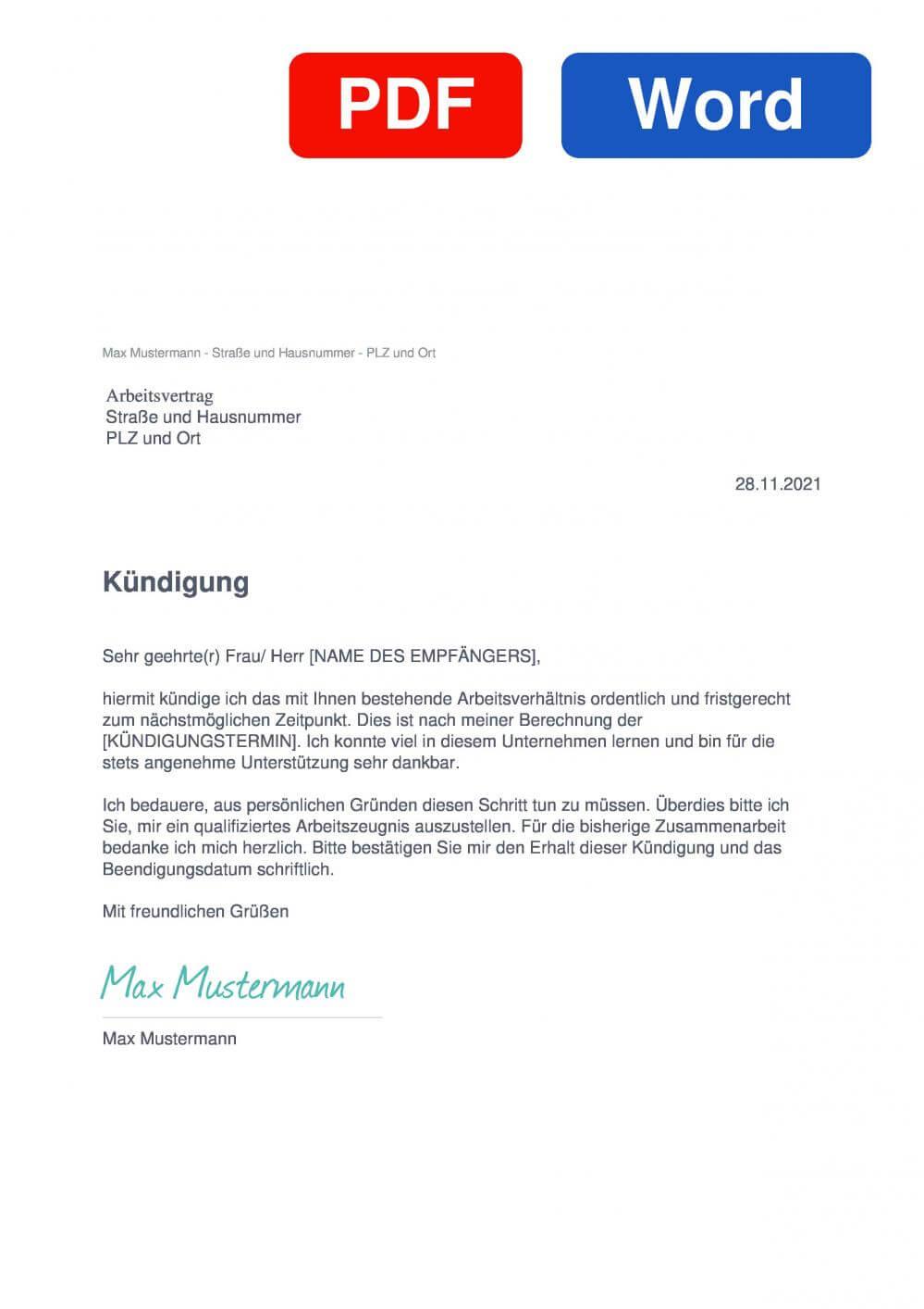 Arbeitsvertrag Muster Vorlage für Kündigungsschreiben