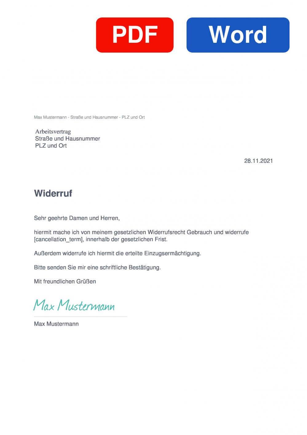 Arbeitsvertrag Muster Vorlage für Wiederrufsschreiben