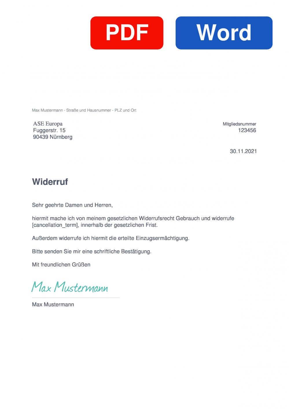 ASE Automobil Service Europa Muster Vorlage für Wiederrufsschreiben