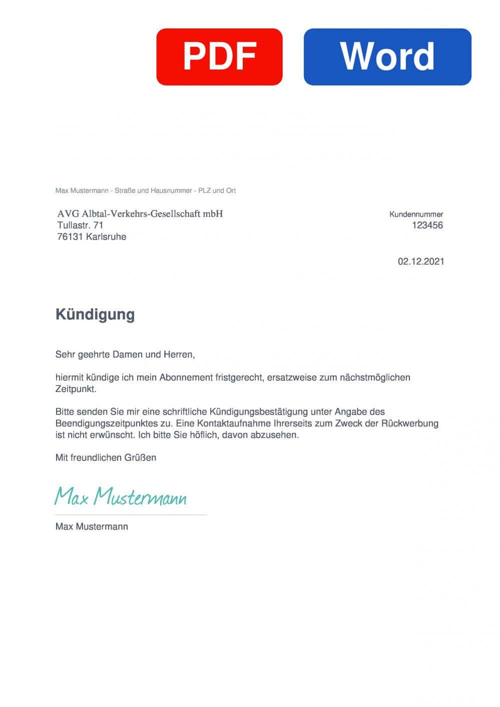AVG Albtal-Verkehrs-Gesellschaft mbH Muster Vorlage für Kündigungsschreiben