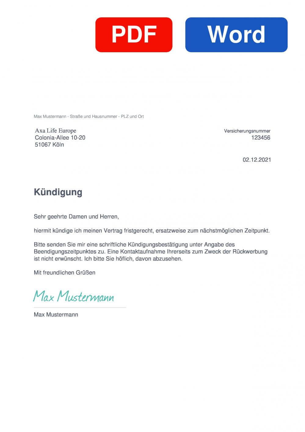 Axa Life Europe Muster Vorlage für Kündigungsschreiben
