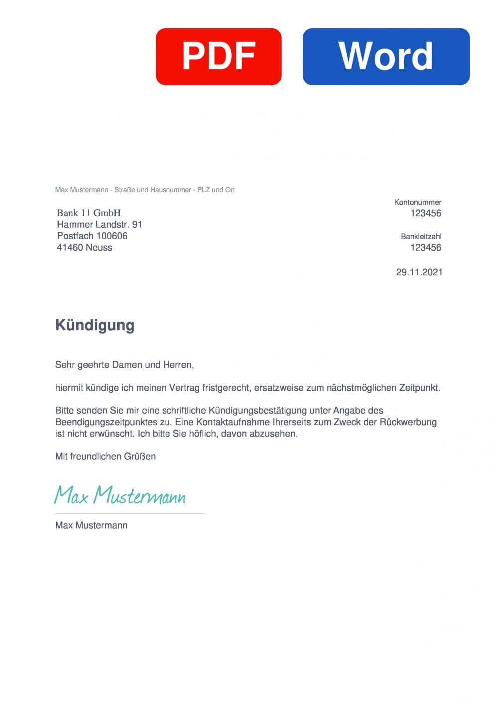 Bank11 Muster Vorlage für Kündigungsschreiben