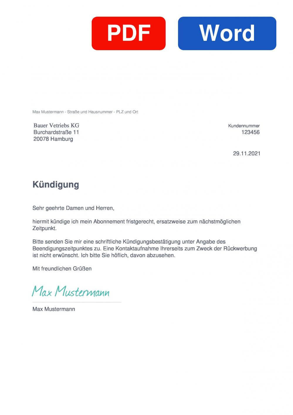Bauer Verlag Muster Vorlage für Kündigungsschreiben
