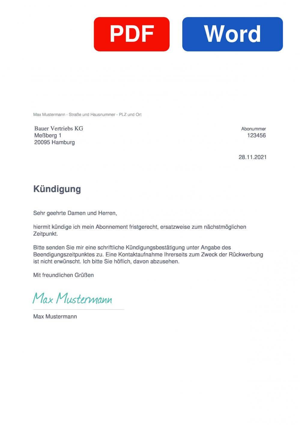 Bauer Vertriebs KG Muster Vorlage für Kündigungsschreiben