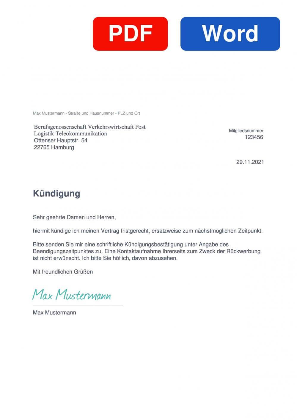 BG Verkehr Muster Vorlage für Kündigungsschreiben