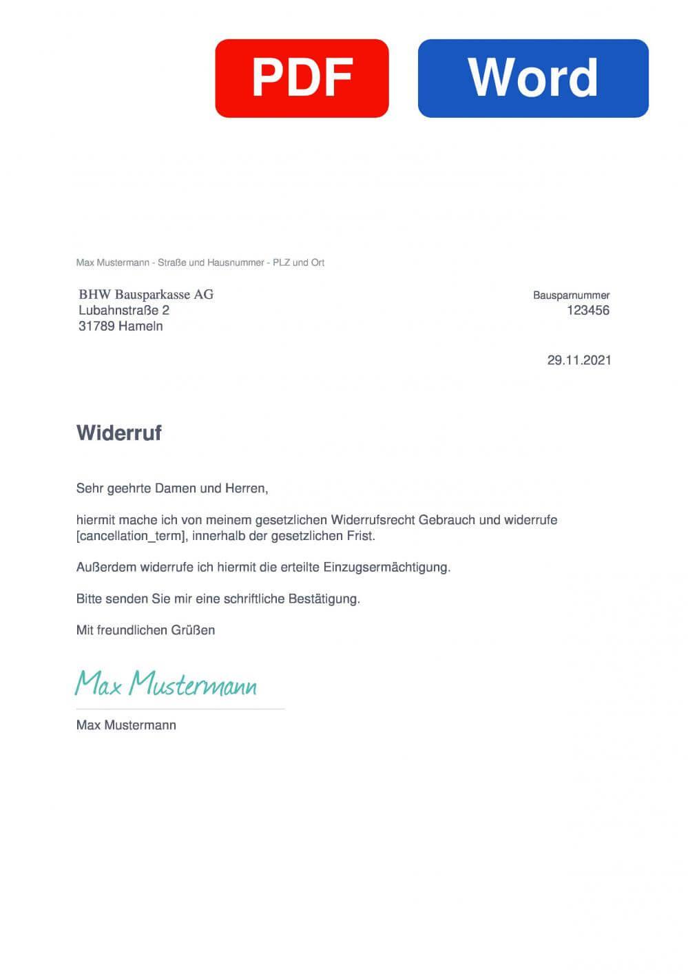 BHW Bausparkasse Muster Vorlage für Wiederrufsschreiben