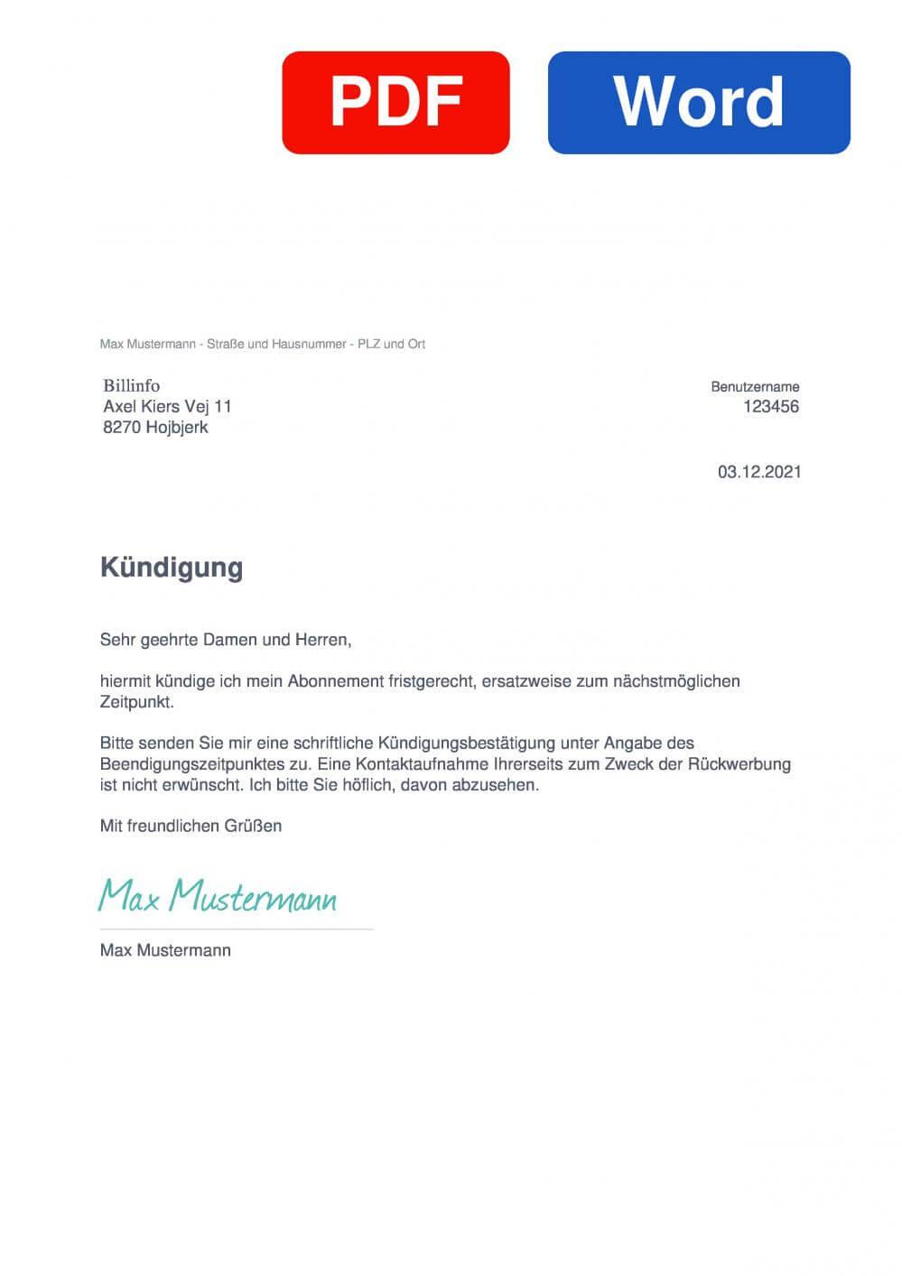 Billinfo Muster Vorlage für Kündigungsschreiben