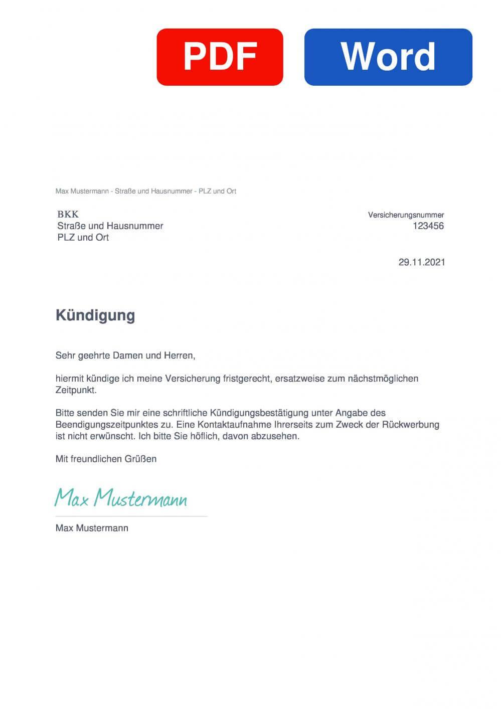 BKK Muster Vorlage für Kündigungsschreiben