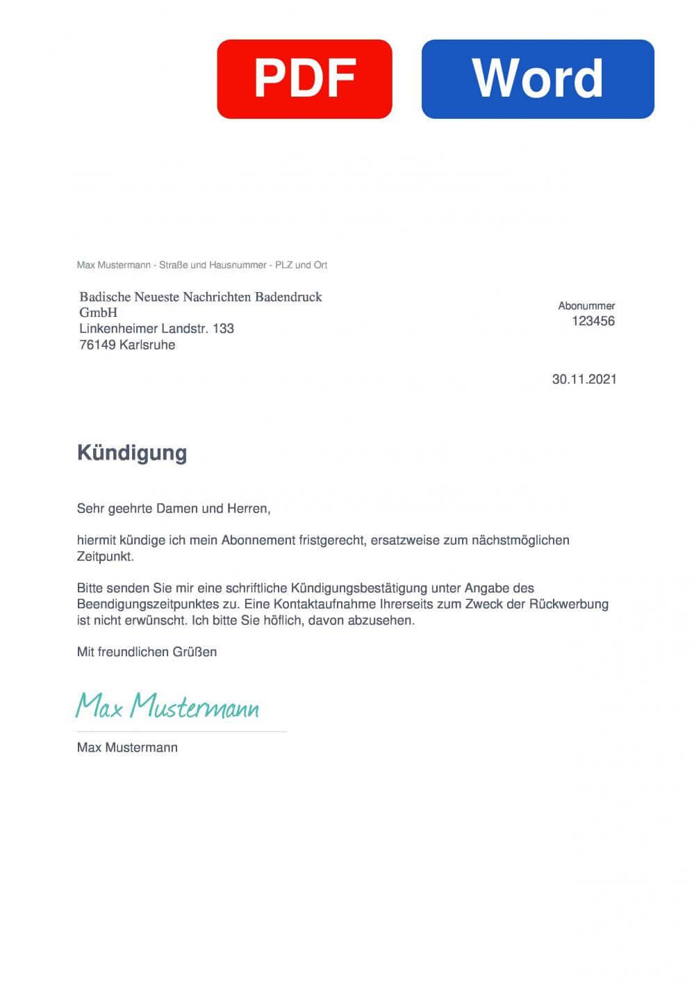 BNN Muster Vorlage für Kündigungsschreiben