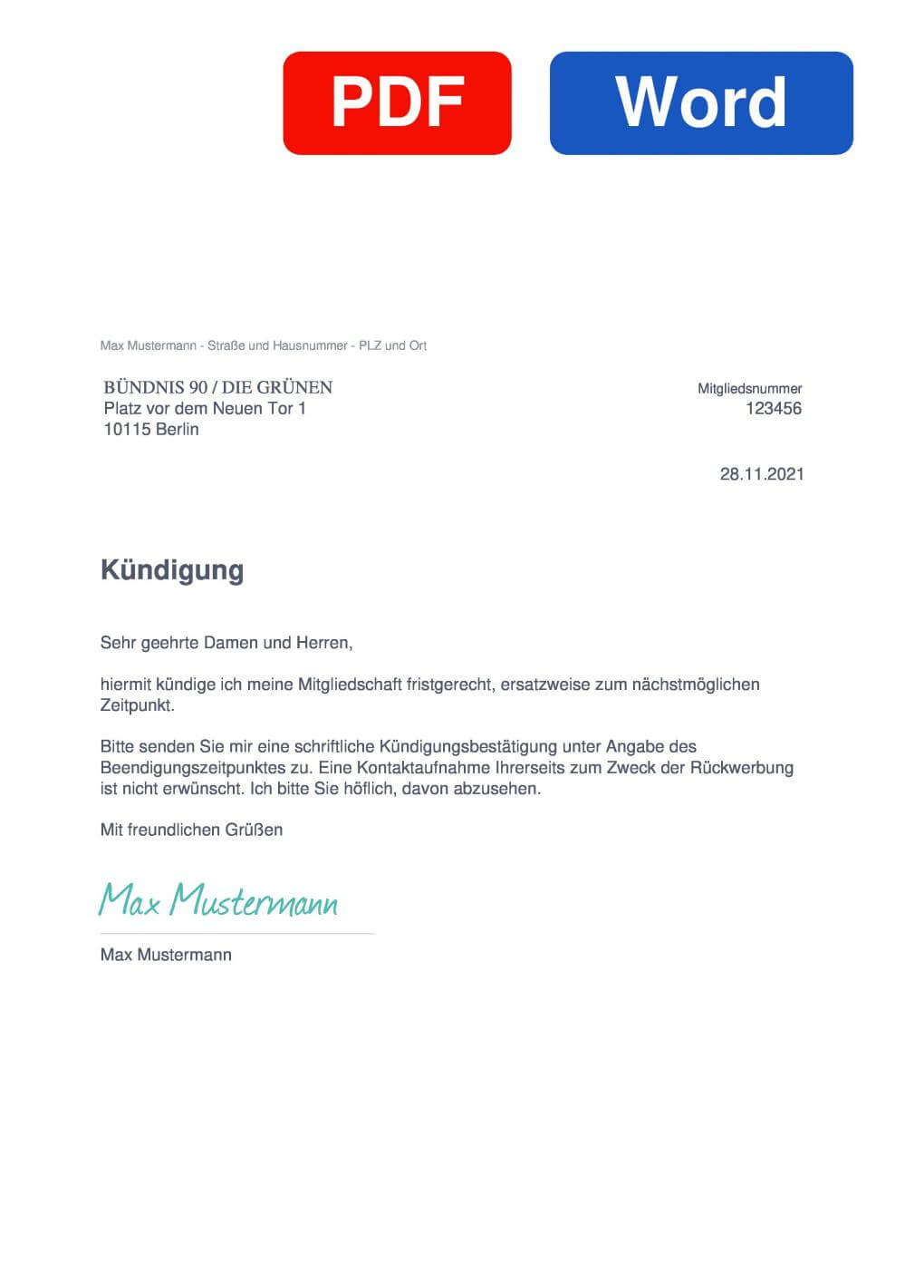 BÜNDNIS 90 / DIE GRÜNEN Muster Vorlage für Kündigungsschreiben