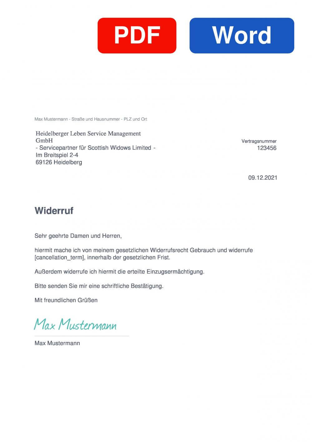 Clerical Medical Muster Vorlage für Wiederrufsschreiben