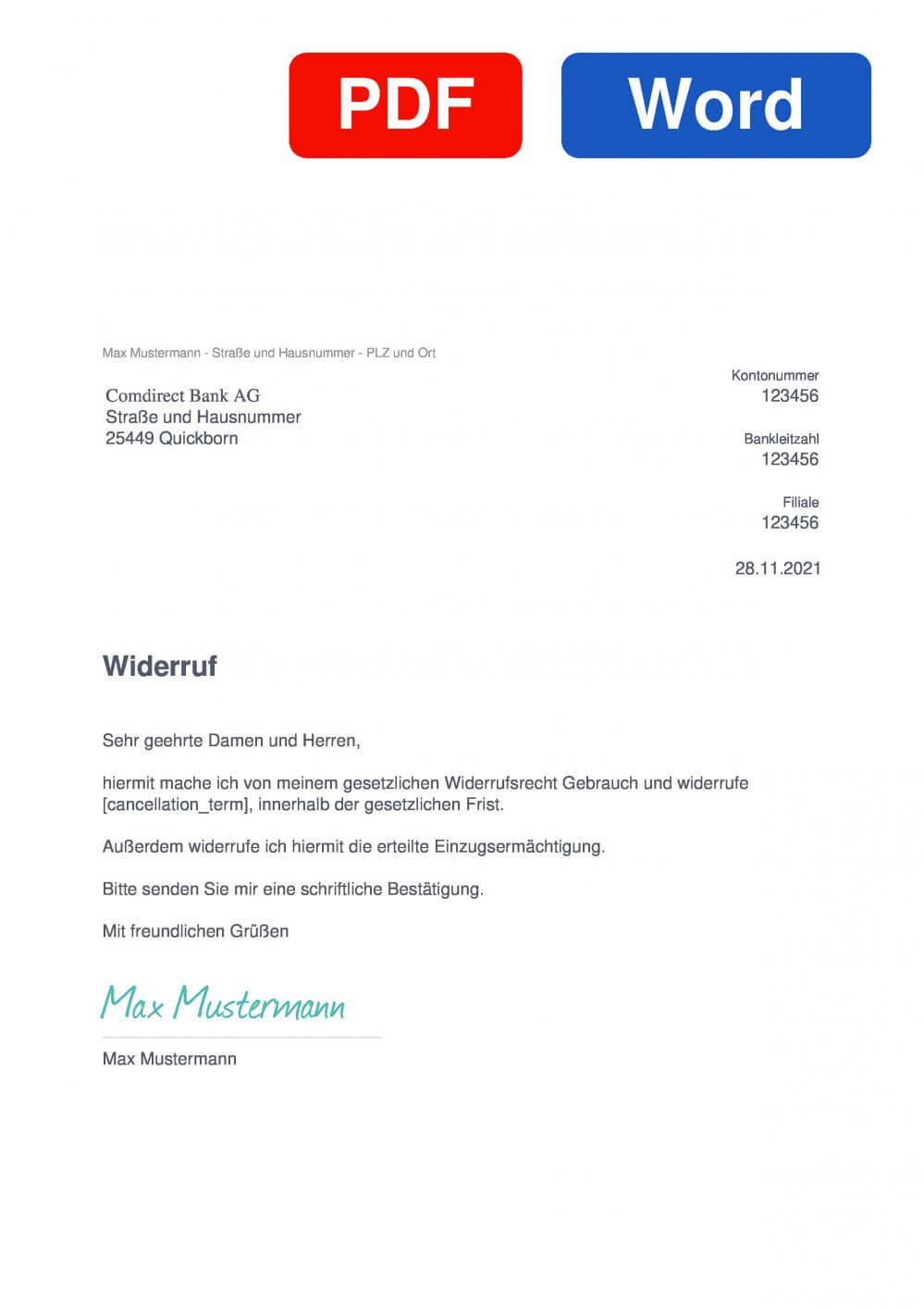 comdirect Bank Muster Vorlage für Wiederrufsschreiben