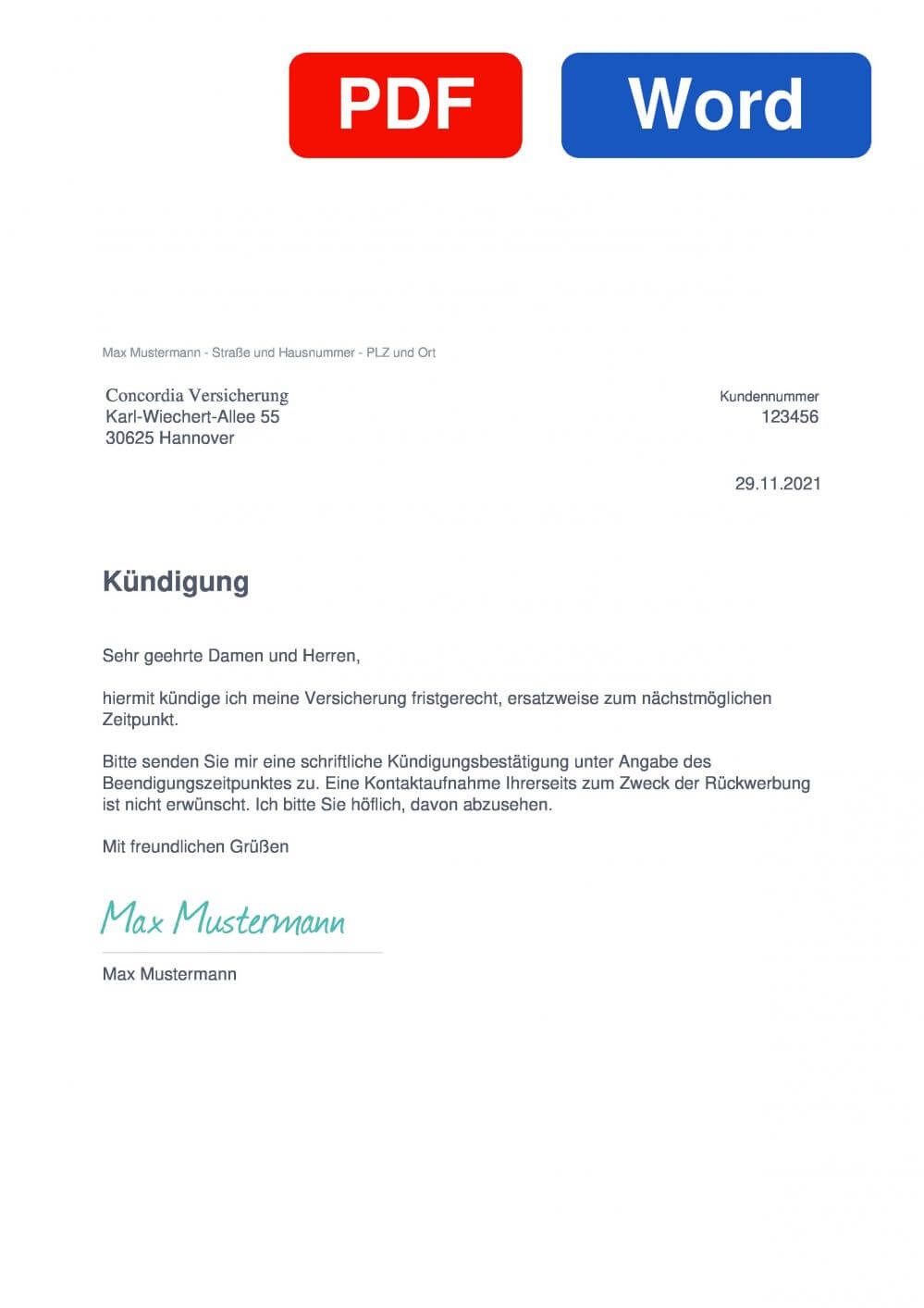 Concordia KFZ Versicherung Muster Vorlage für Kündigungsschreiben