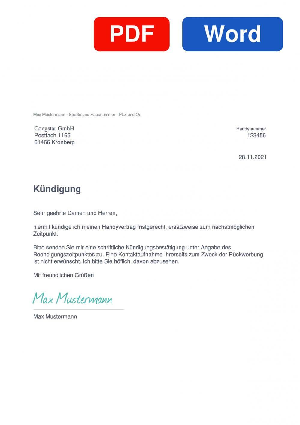 congstar Muster Vorlage für Kündigungsschreiben