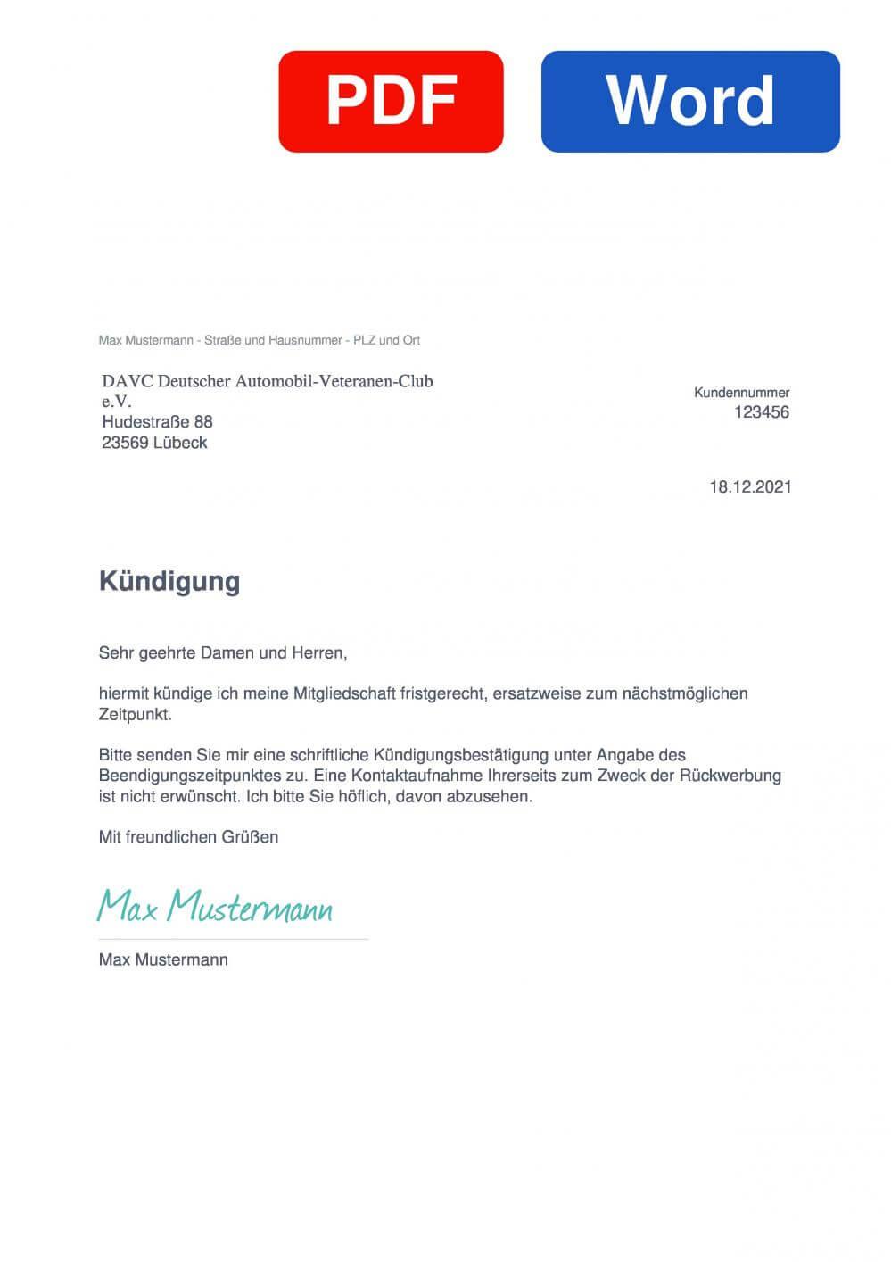 DAVC Deutscher Automobil Veteranen Club Muster Vorlage für Kündigungsschreiben