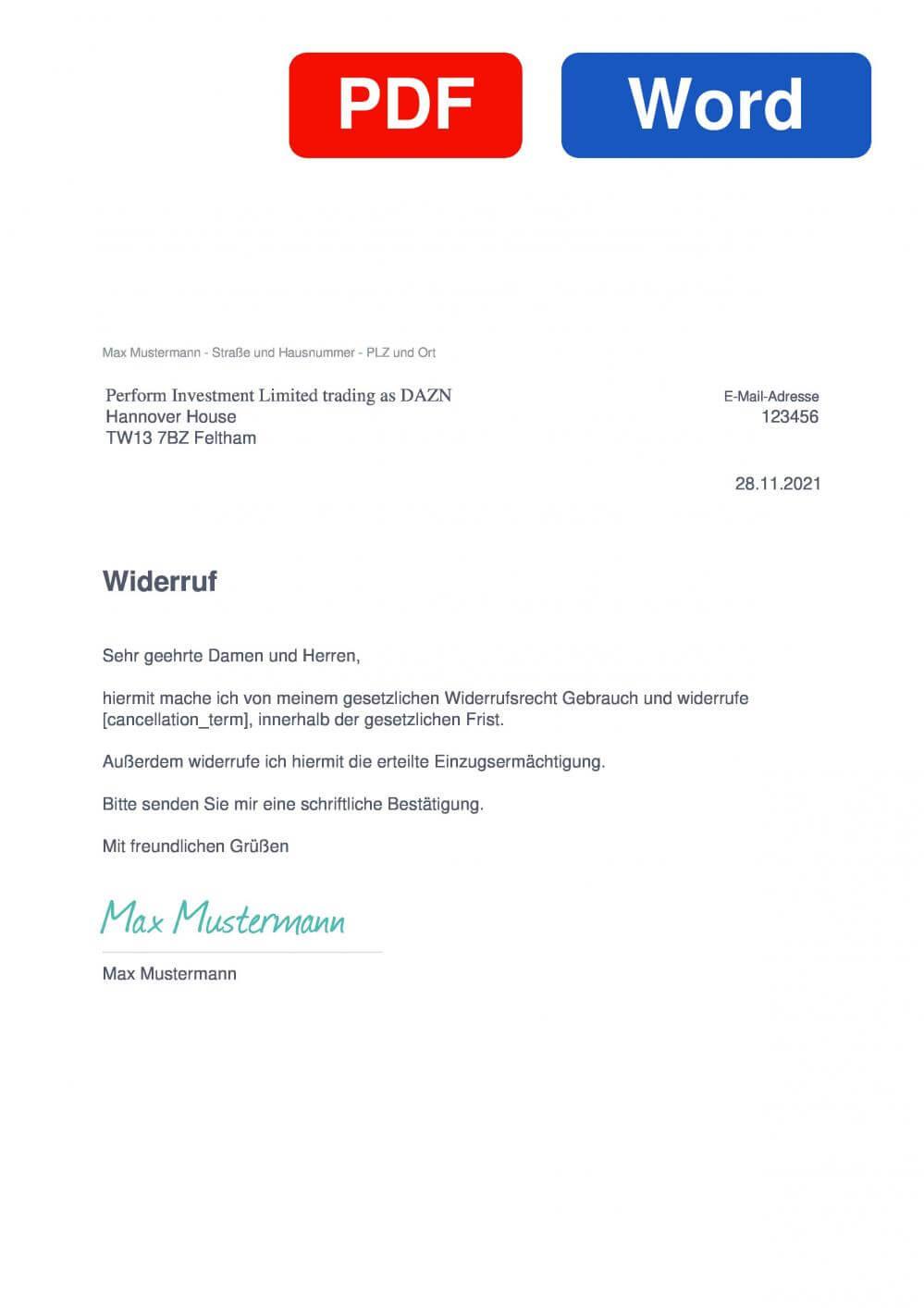 DAZN Muster Vorlage für Wiederrufsschreiben