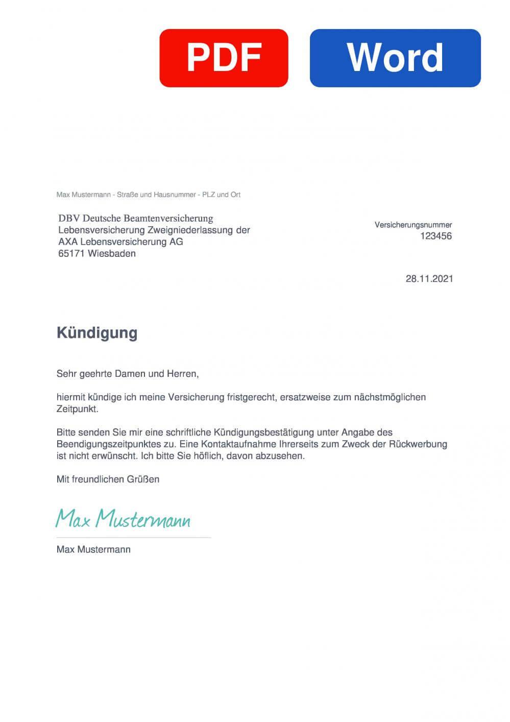 DBV KFZ-Versicherung Muster Vorlage für Kündigungsschreiben
