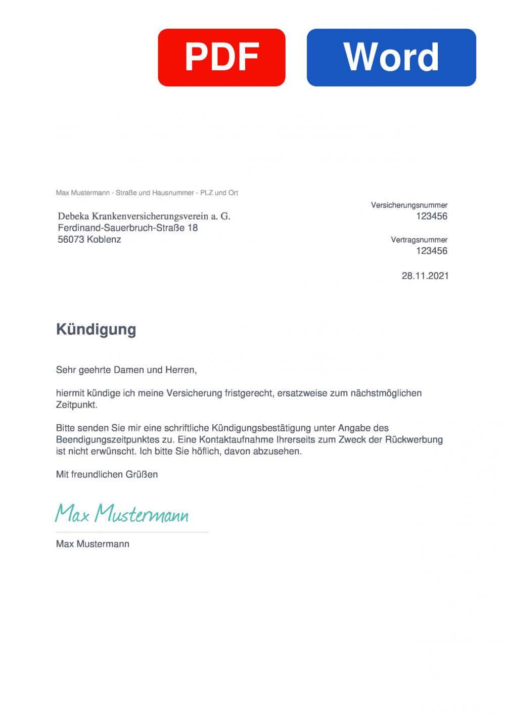 Debeka Auslandskrankenversicherung Muster Vorlage für Kündigungsschreiben