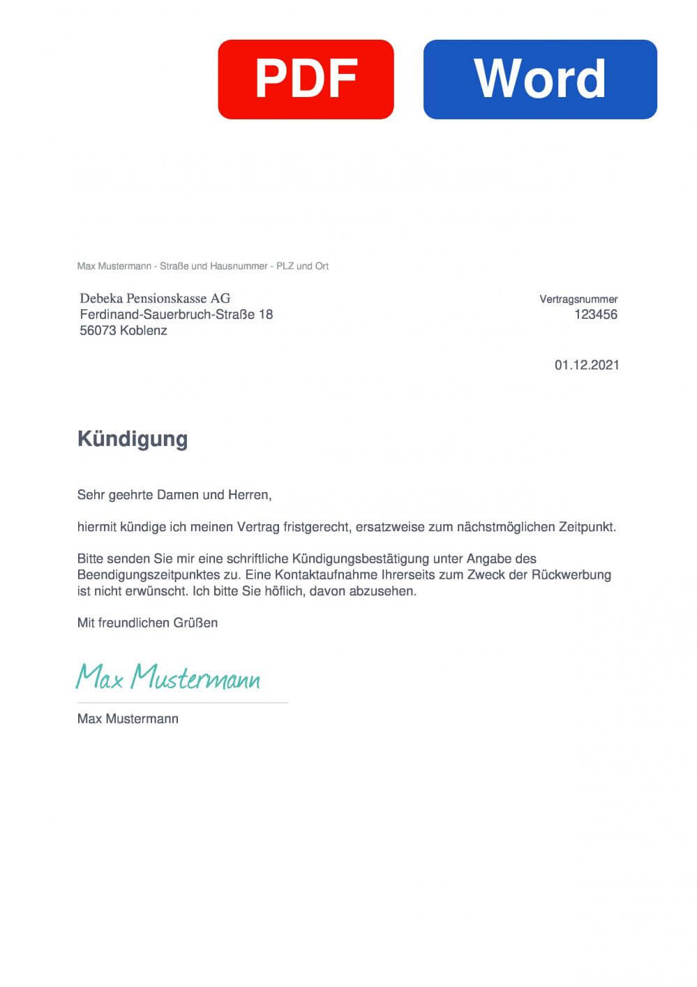 Debeka Pensionskasse Muster Vorlage für Kündigungsschreiben