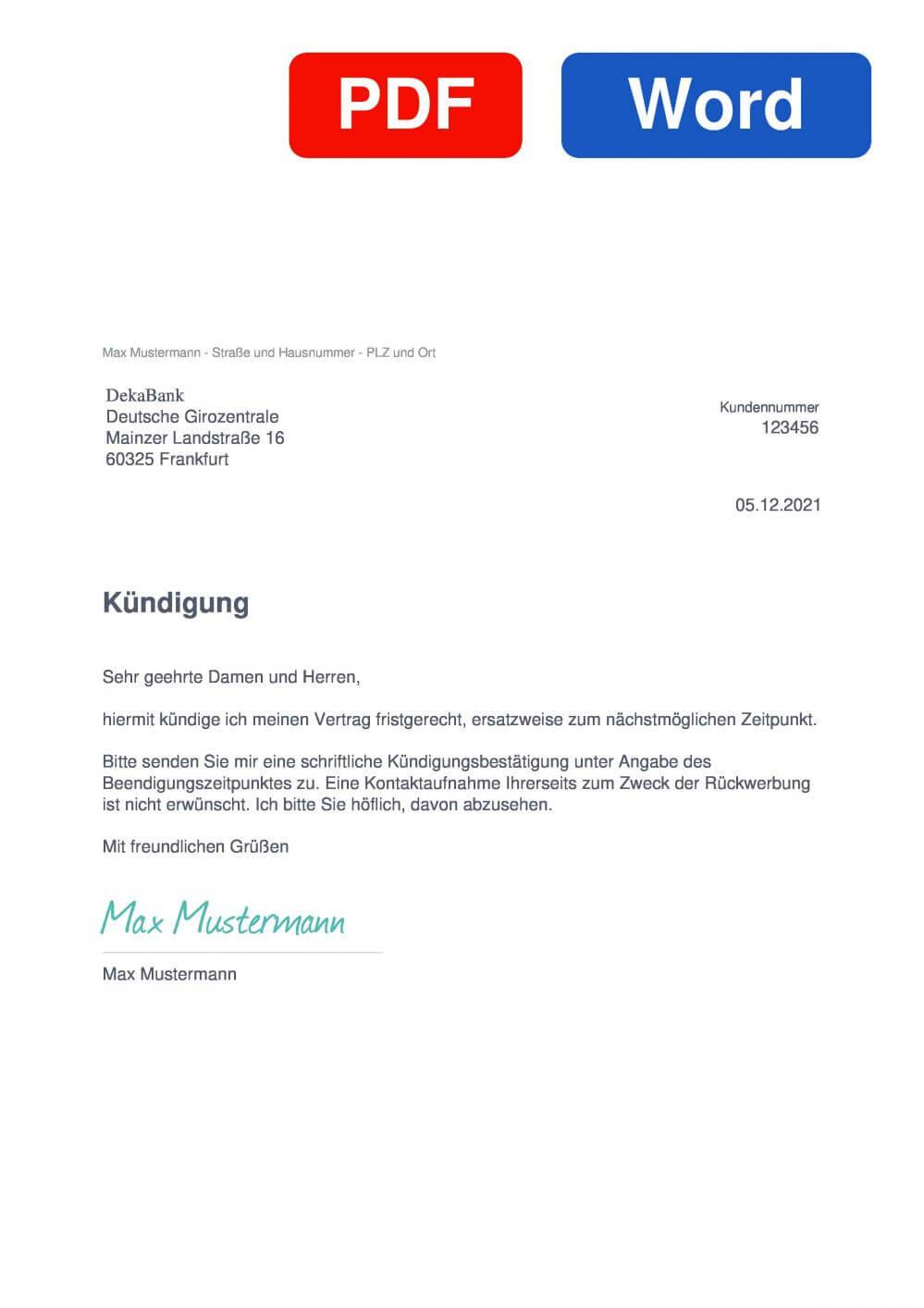 Deka BasisAnlage A60 Muster Vorlage für Kündigungsschreiben