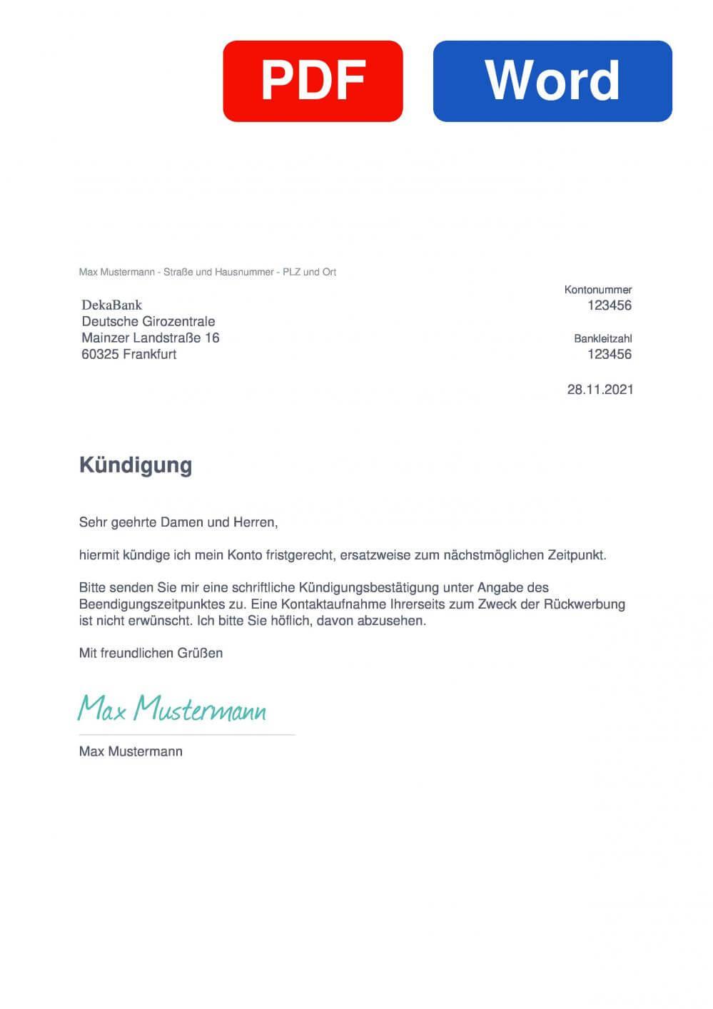 DekaBank Depot Muster Vorlage für Kündigungsschreiben