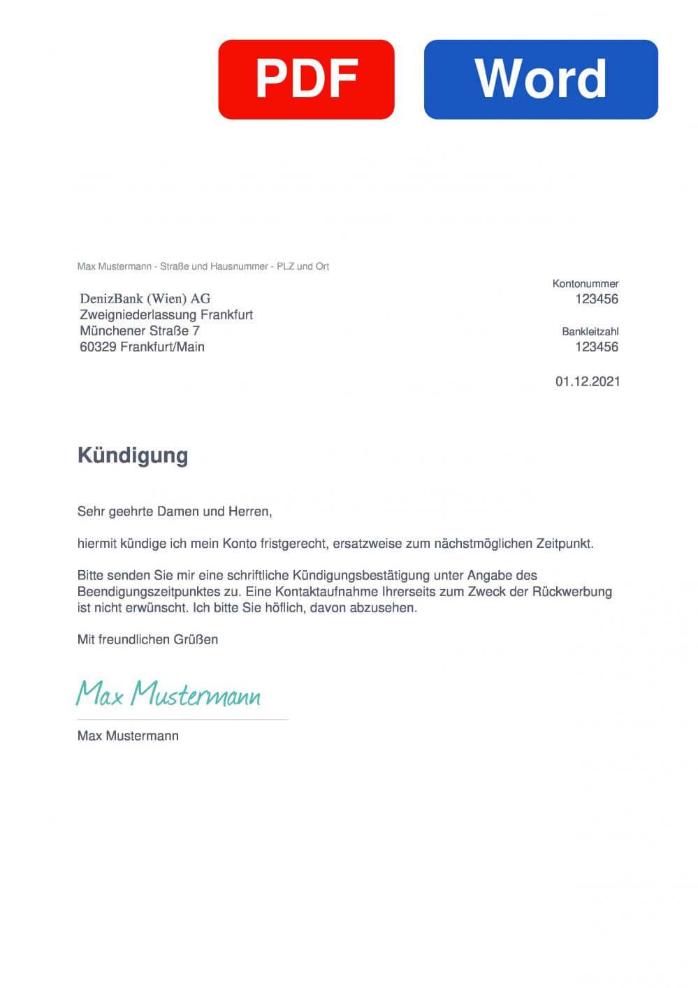 DenizBank Muster Vorlage für Kündigungsschreiben