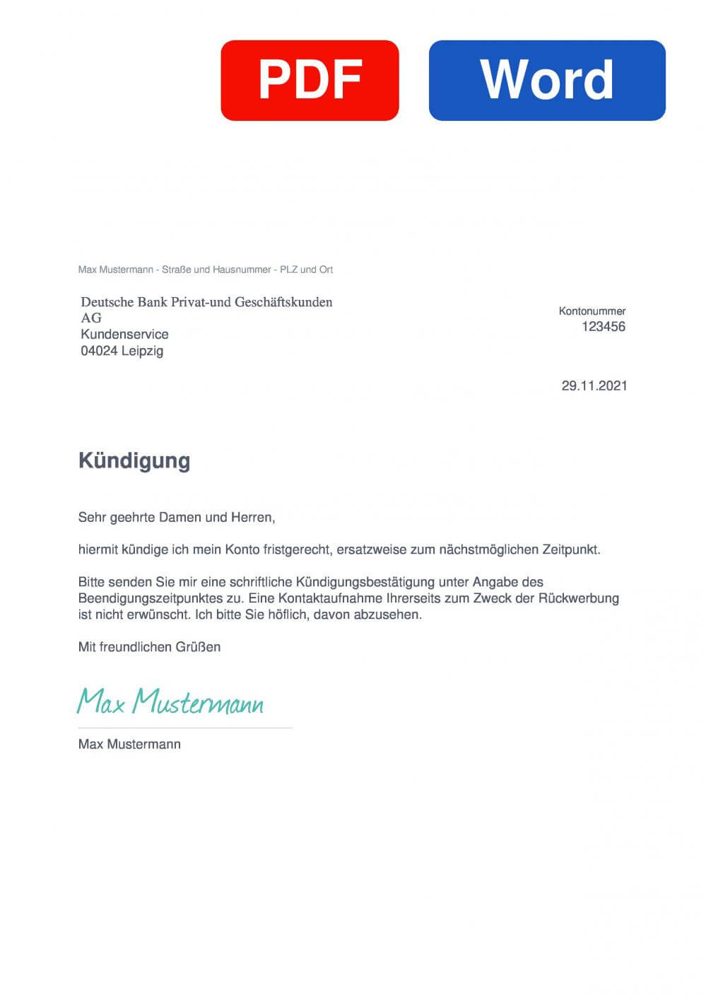 Deutsche Bank FestzinsSparen Muster Vorlage für Kündigungsschreiben