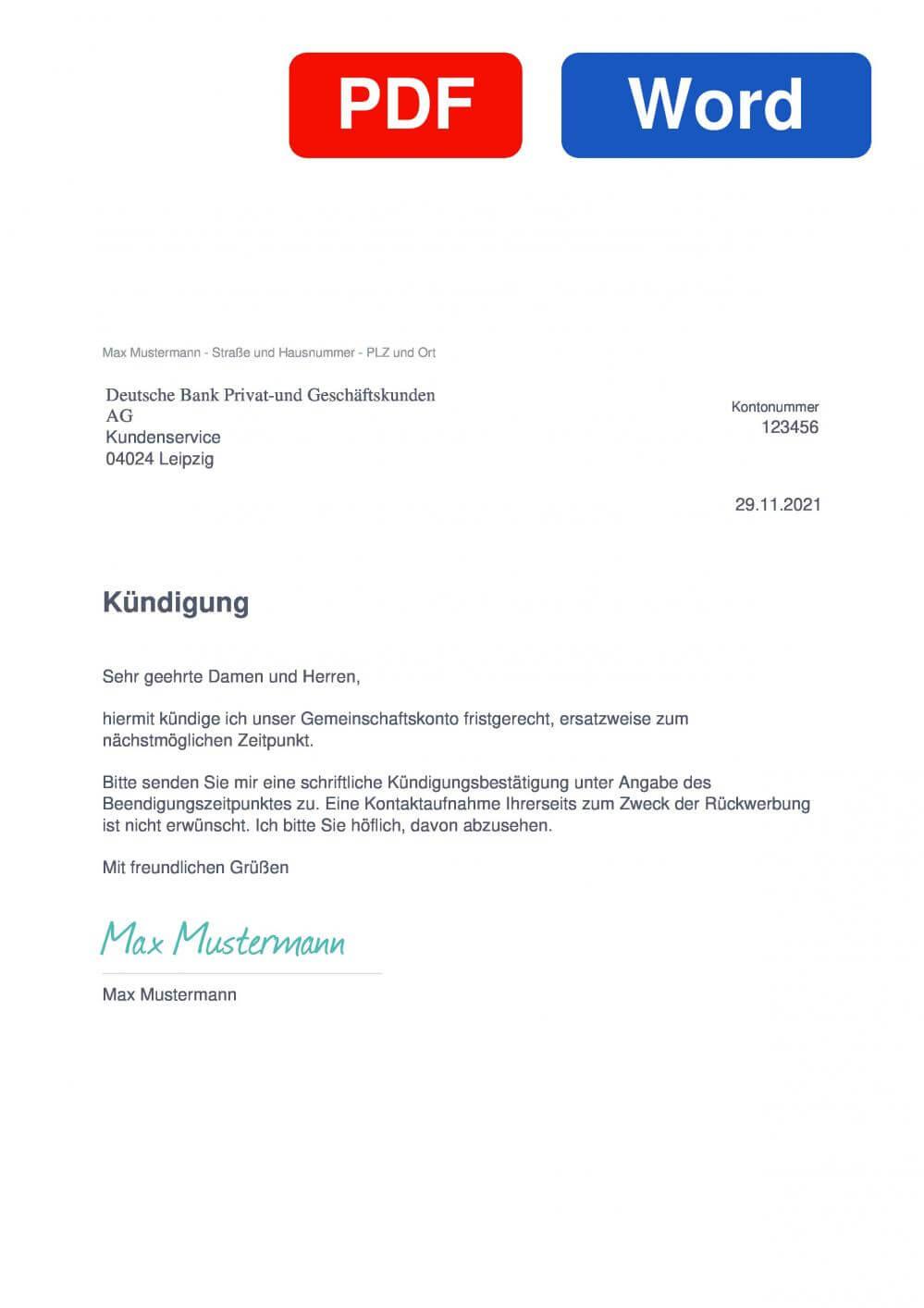 Deutsche Bank Gemeinschaftskonto Muster Vorlage für Kündigungsschreiben