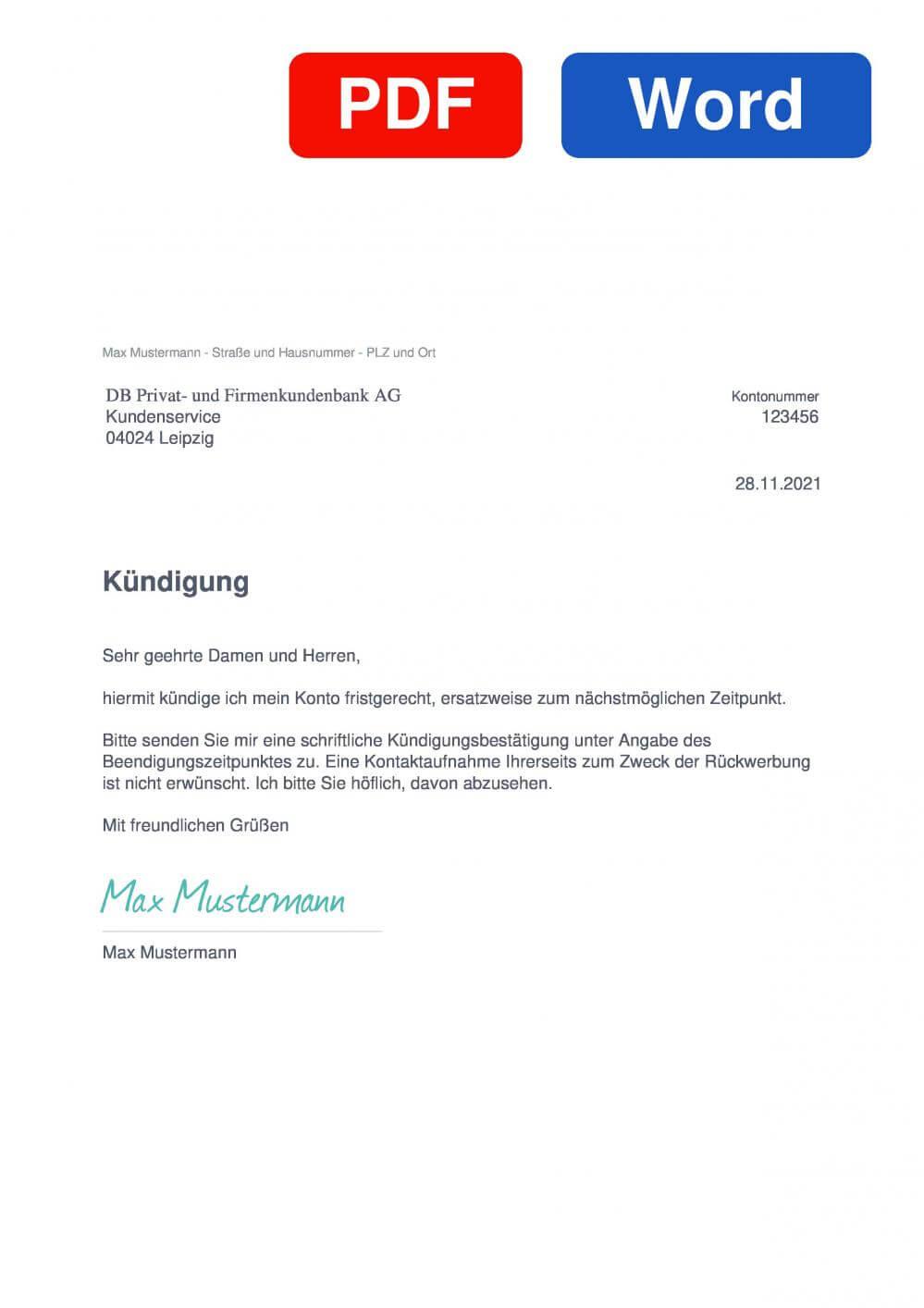 Deutsche Bank Muster Vorlage für Kündigungsschreiben