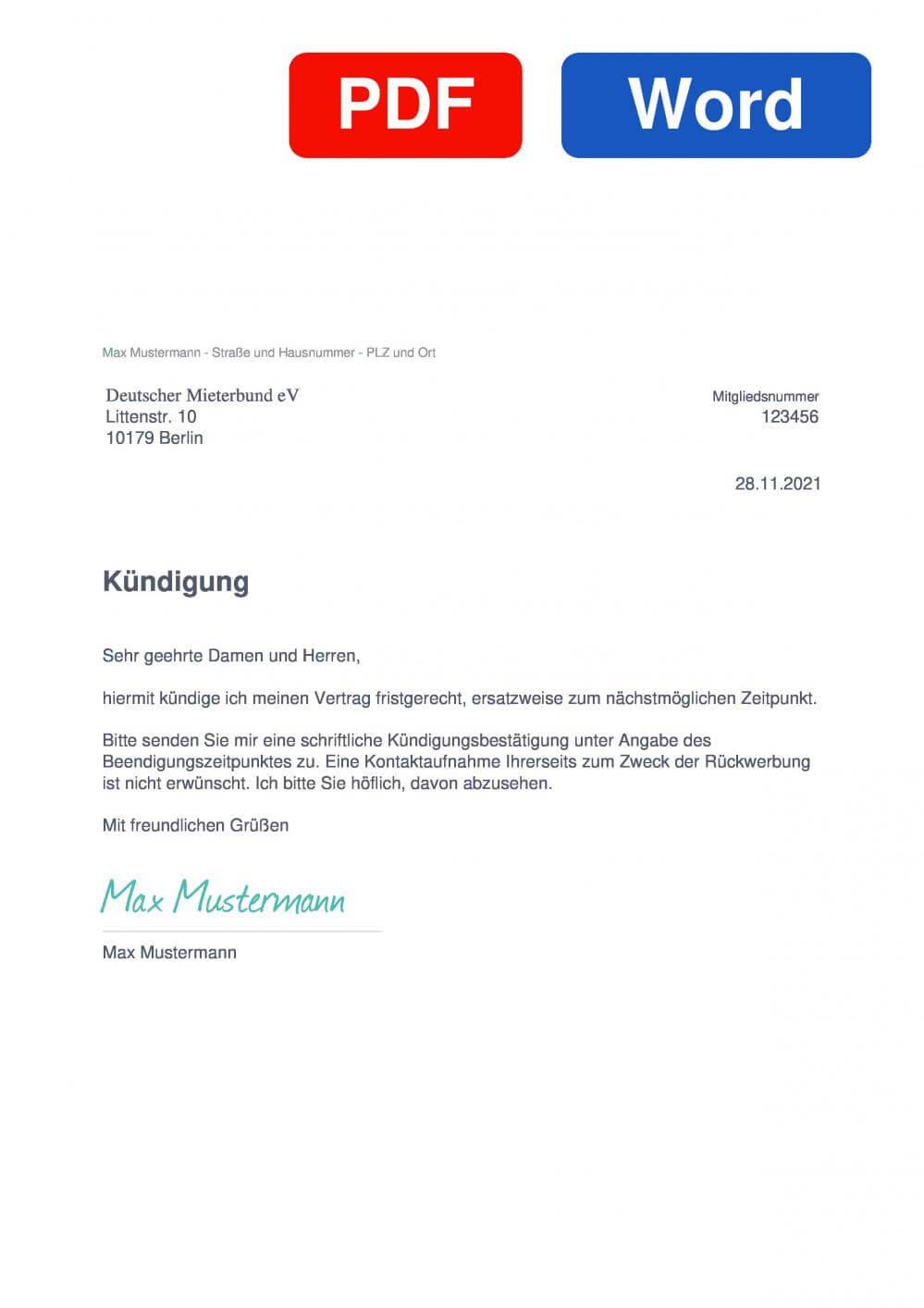 Deutscher Mieterbund Muster Vorlage für Kündigungsschreiben